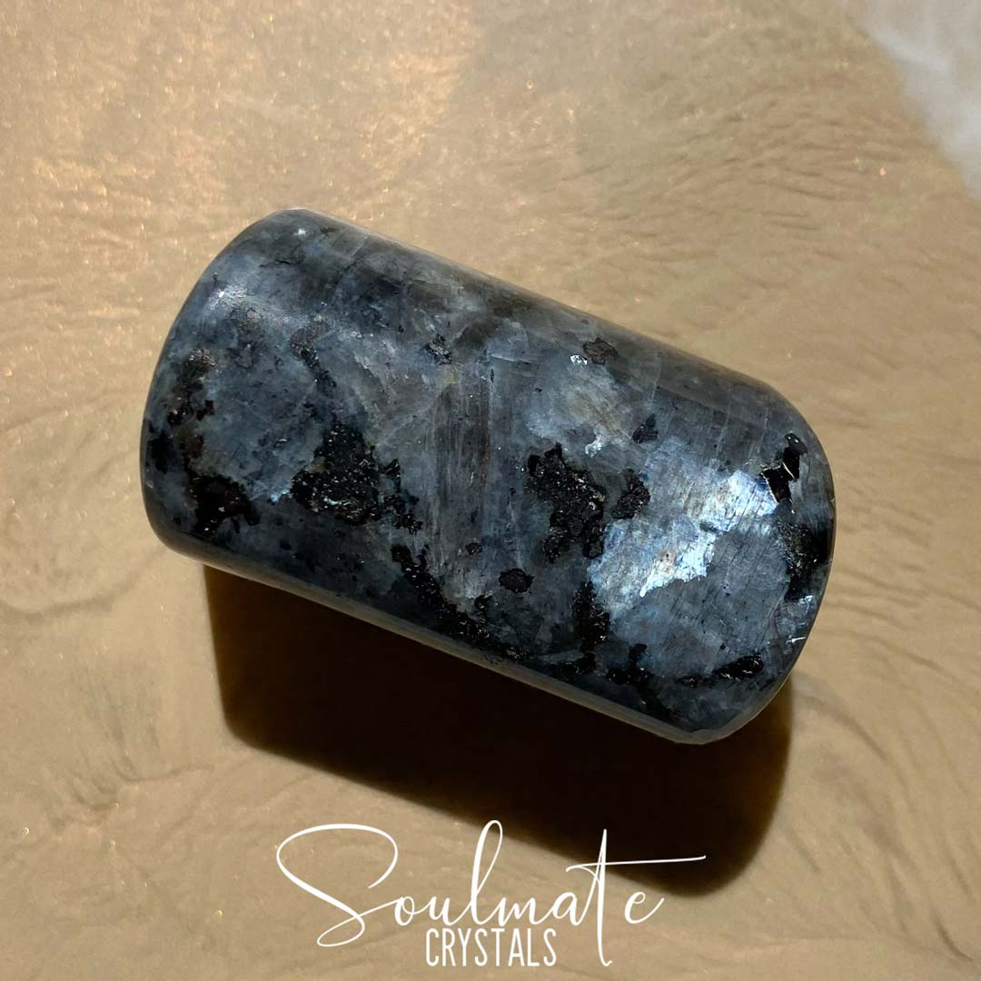 Soulmate Crystals Larvikite Tumbled Stone, Black Feldspar Polished Stone, Blue Silver Flash for Intuition, Size Jumbo