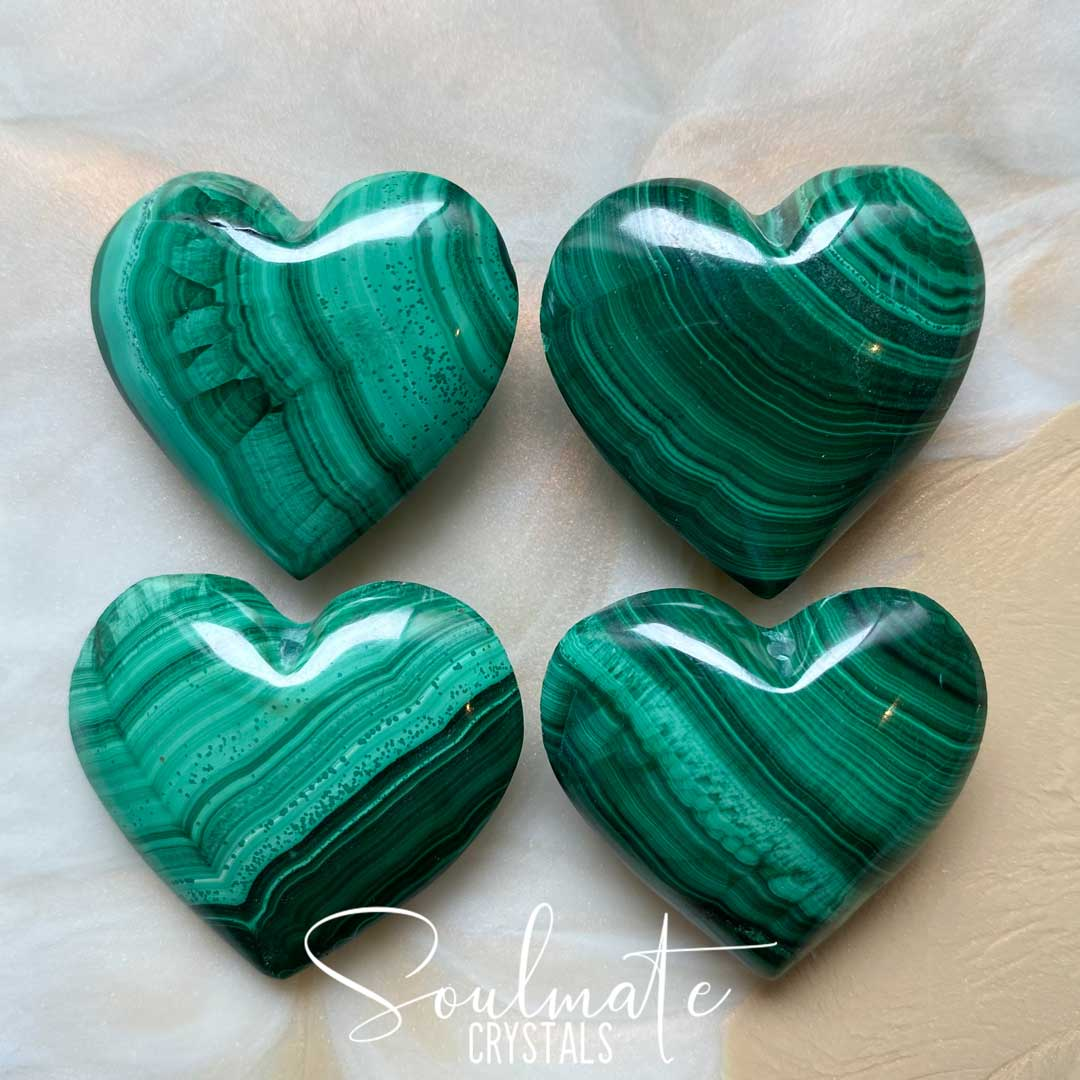 Soulmate Crystals Malachite Polished Stone Heart, Bright Green Stone with circular patterns for Personal Power, Transformation Crystal, Size Small