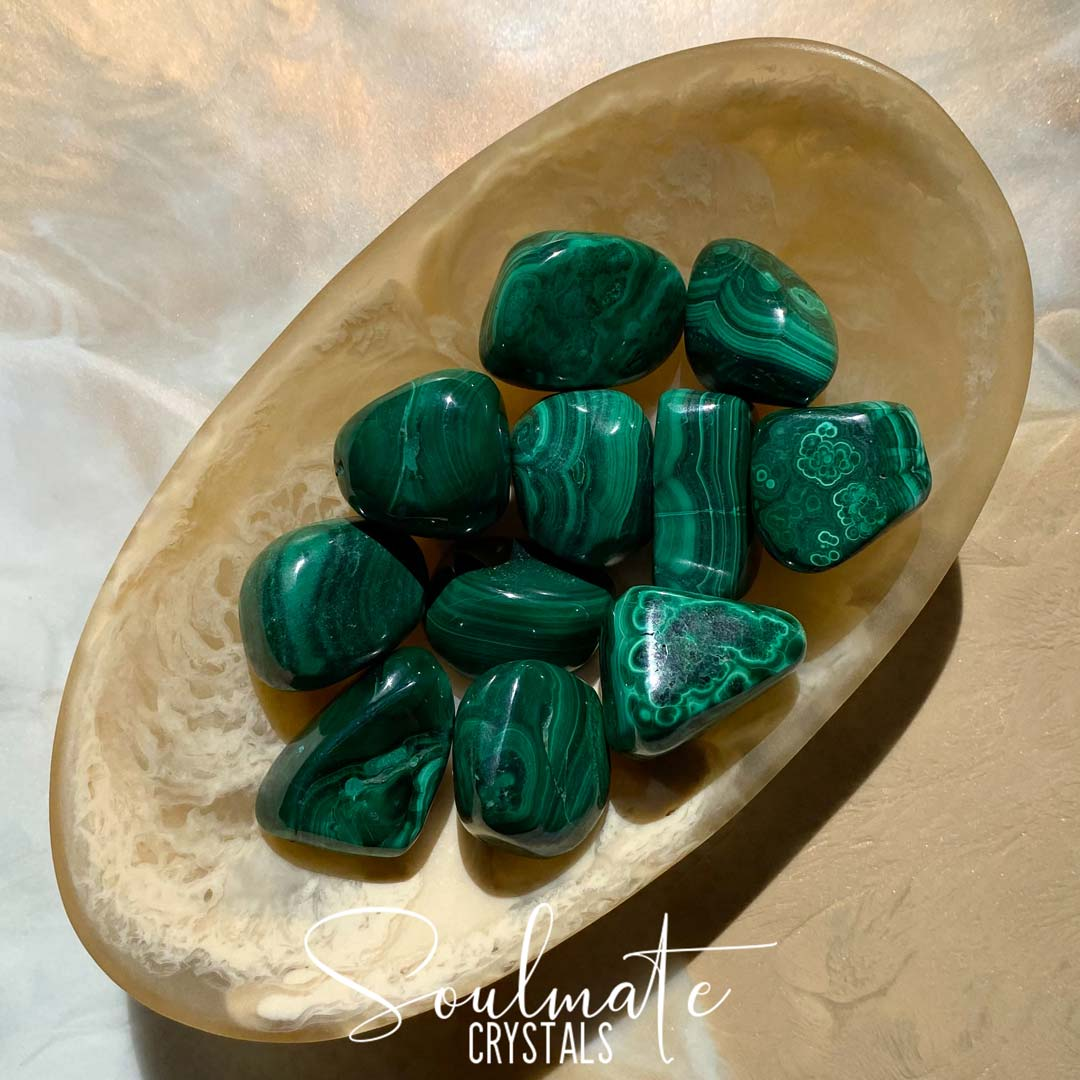 Soulmate Crystals Malachite Tumbled Stone, Polished Bright Green Stone with circular patterns for Personal Power, Transformation Crystal