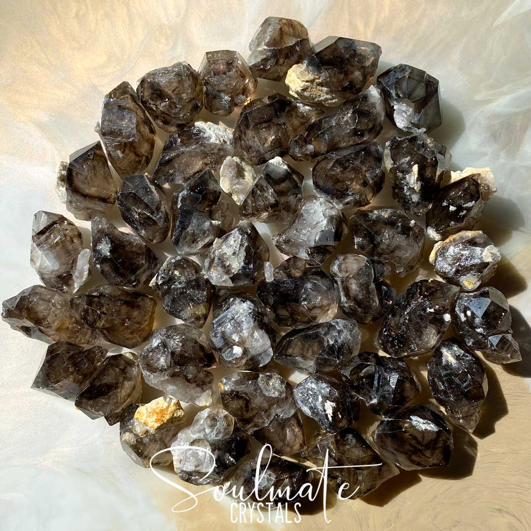 Soulmate Crystals Mooralla Smoky Quartz Raw Natural Stone, Smoky Brown Double Terminated Crystal Points, Size Medium