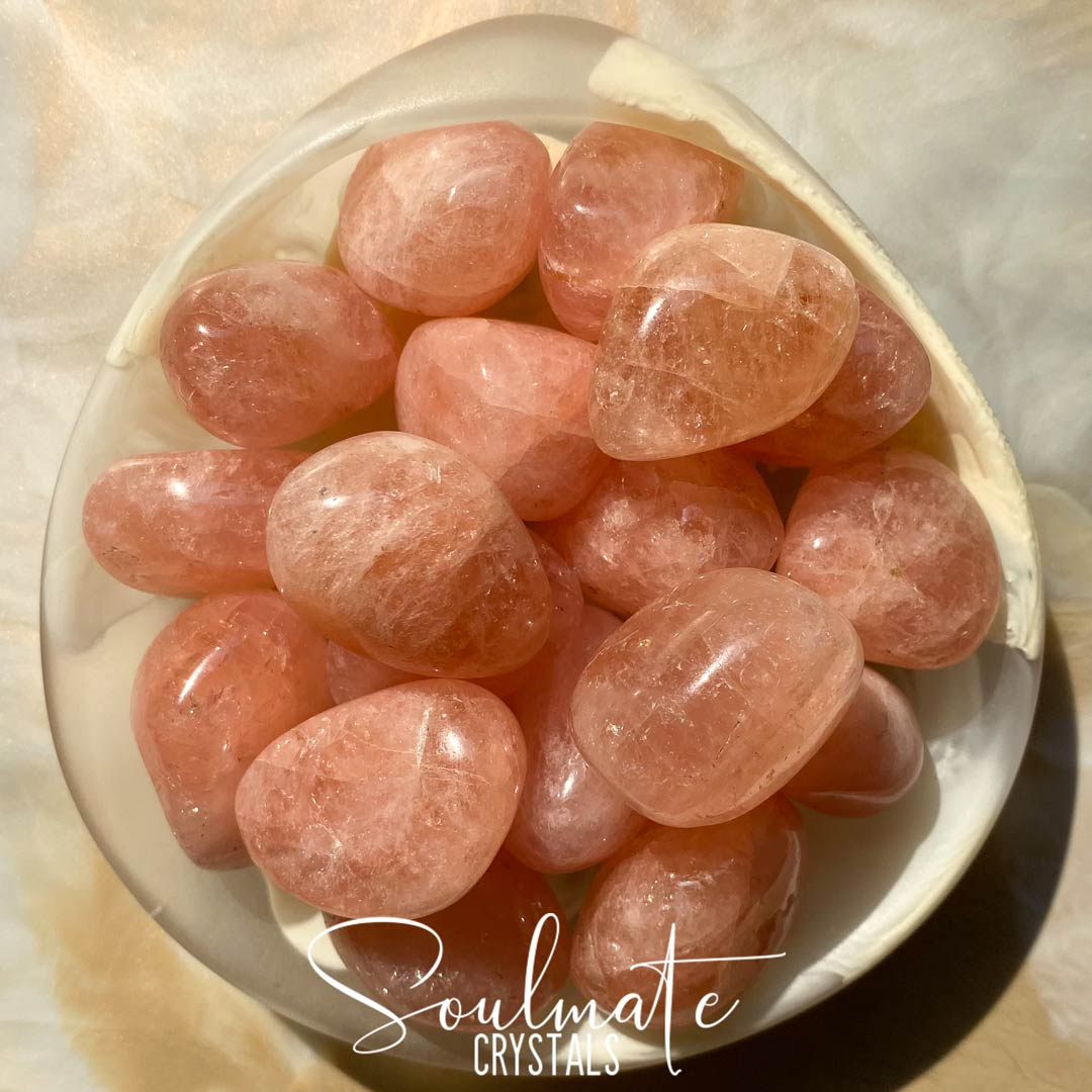 Soulmate Crystals Morganite Tumbled Stone, Peach Pink Crystal for Heart, Abundant Love, Relationships and Fairness.