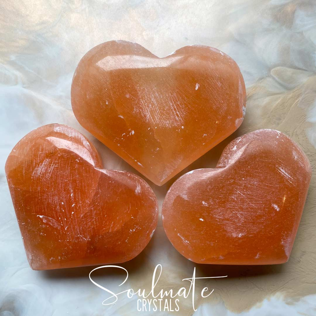 Soulmate Crystals Orange Peach Selenite Heart, Peach Orange Crystal Heart for Happiness and Creativity, Size XL, Extra Large