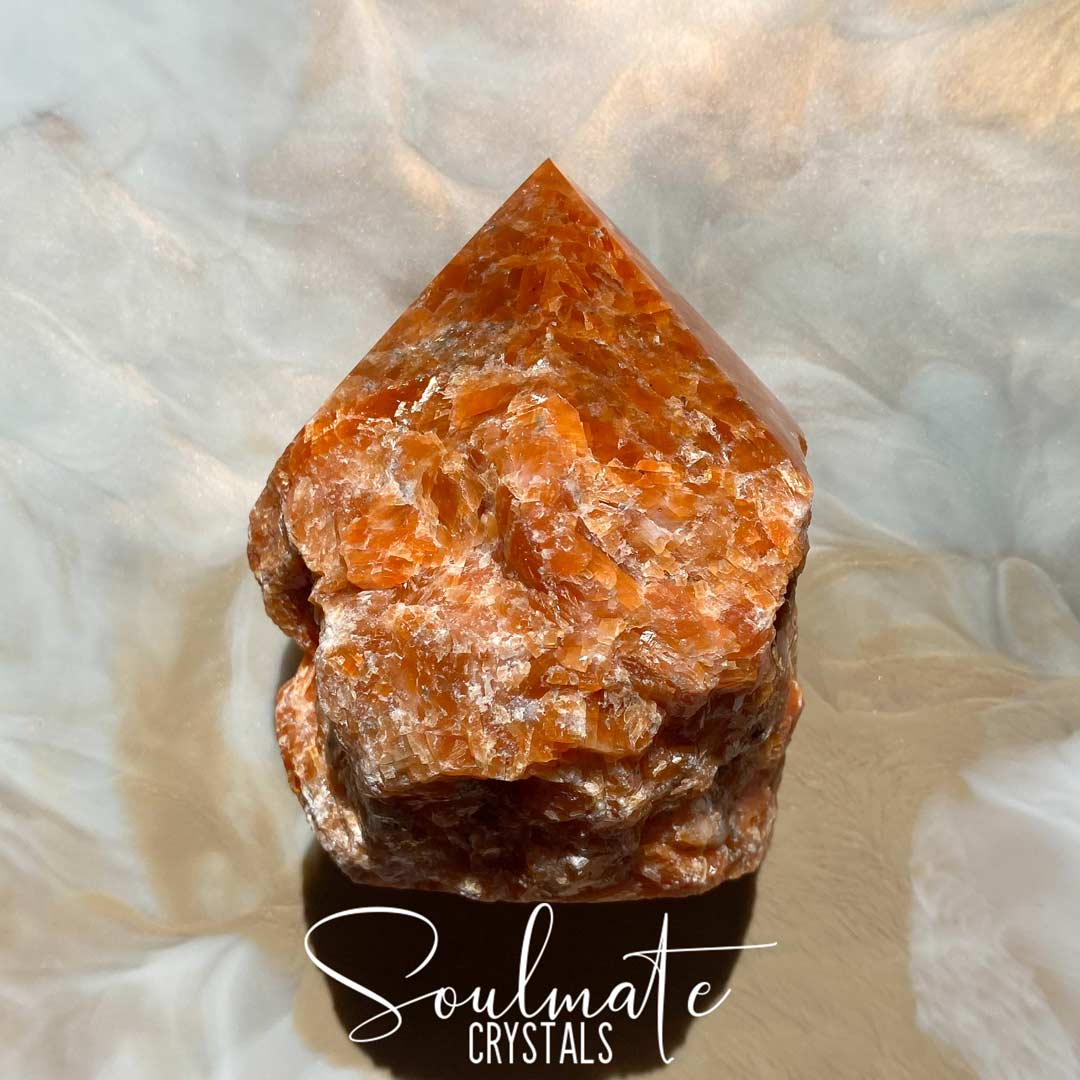 Soulmate Crystals Orchid Calcite Raw Polished Crystal Point, Tangerine Orange Crystal for Passion, Creativity