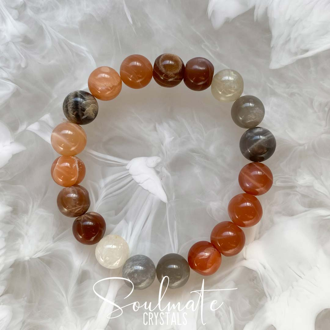 Soulmate Crystals Peach Moonstone Polished Crystal Bracelet, Blush Peach Crystal for Emotional Wellbeing, Moon Energy, One Size Fits Most, Crystal Jewellery