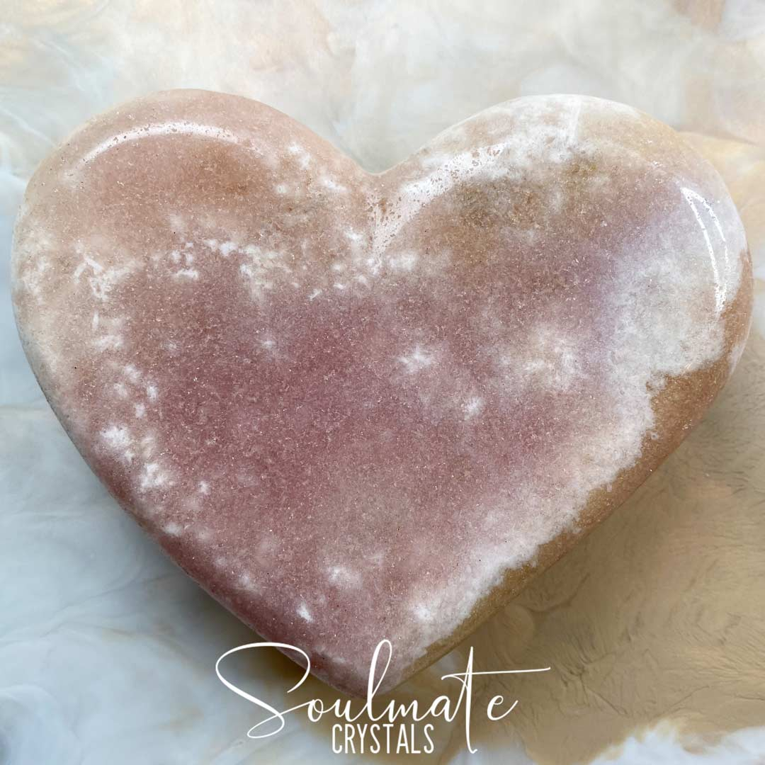 Soulmate Crystals Pink Amethyst Polished Crystal Heart, Pink Crystal Heart for Love, Self-Love