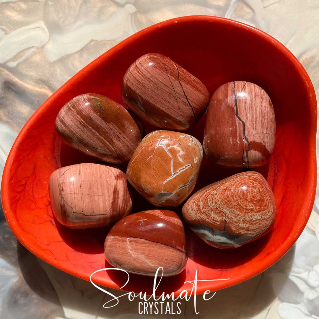 Soulmate Crystals Poppy Jasper Tumbled Stone, Pink Red Crystal for Passion, Harmony, Grounding, Libido