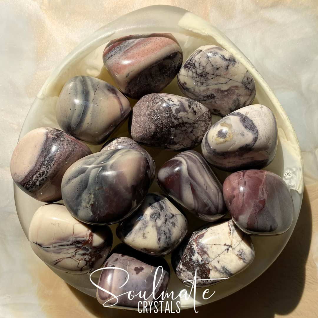 Soulmate Crystals Porcelain Jasper Tumbled Stone, Purple Cream Swirled Crystals for Grounding and Balance
