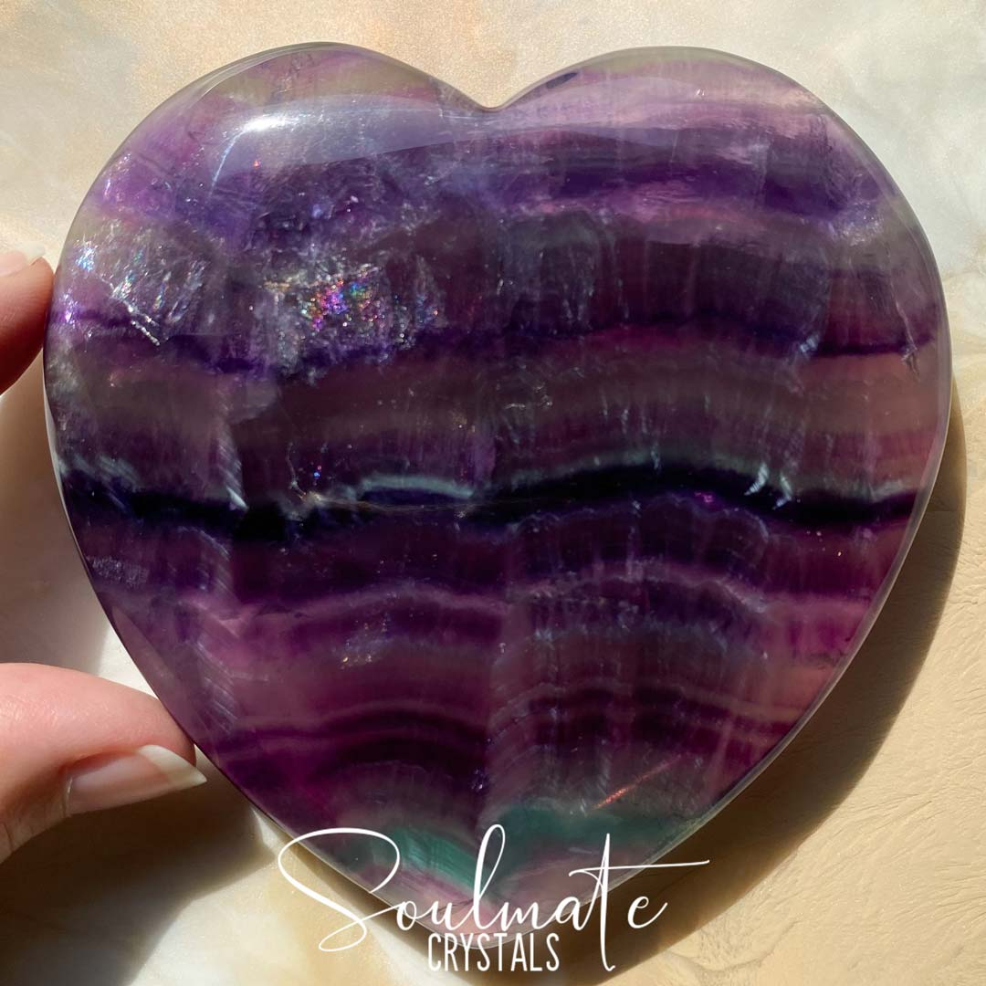 Soulmate Crystals Rainbow Fluorite Polished Crystal Heart, Purple, Green Clear Fluorite Crystal for Clear and Focused Thinking, Mental Agility