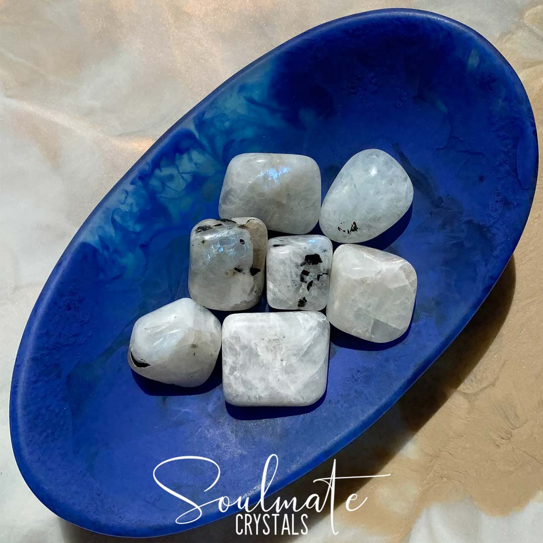 Soulmate Crystals Rainbow Moonstone Tumbled Stone, White Crystal with Blue Flash for Divine Feminine, Clarity and Intuition