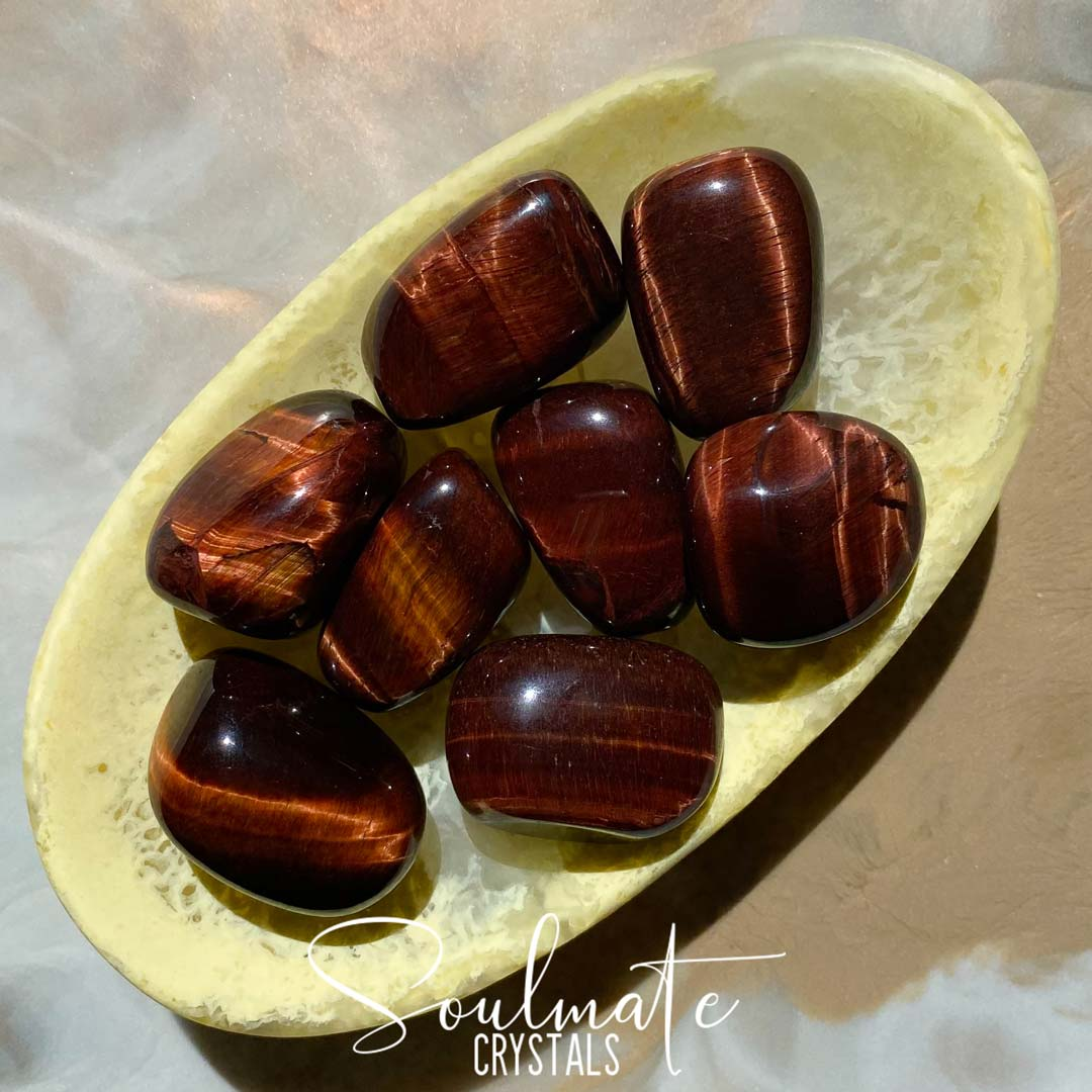 Soulmate Crystals Red Tiger's Eye Tumbled Stone, Chatoyant Red Crystal for Passion, Motivation, Self-Esteem, Wisdom