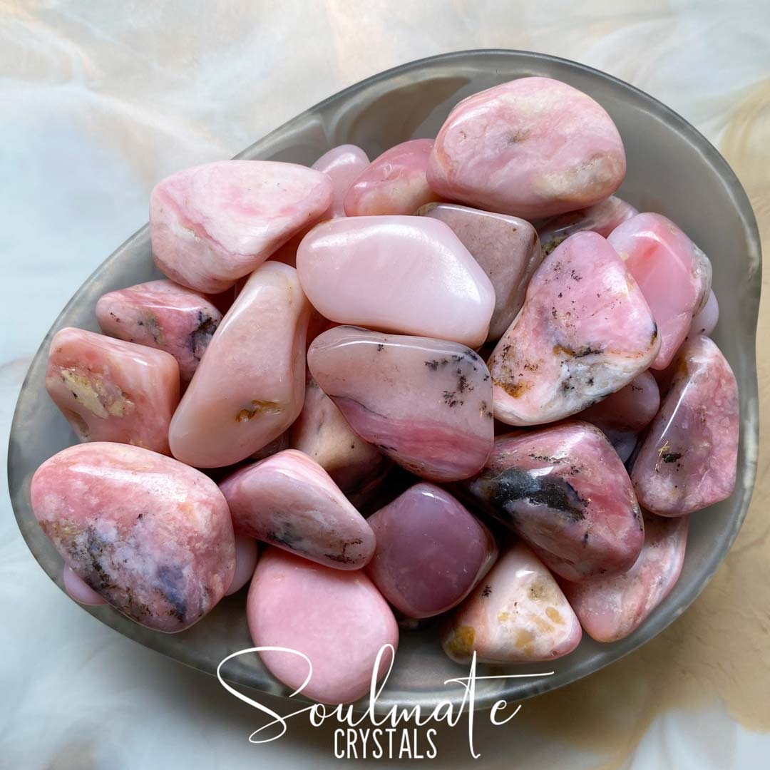 Soulmate Crystals Rose Pink Opal Tumbled Stone, Pink Polished Crystals for Emotional Wellbeing, Size Small-Medium