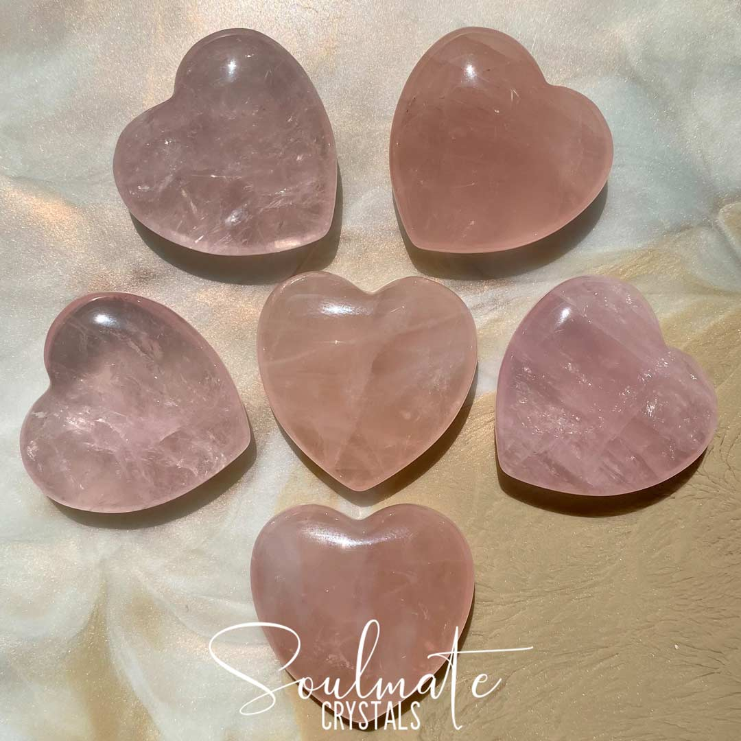 Soulmate Crystals Rose Quartz Pink Polished Crystal Heart, Pink Crystal for Self-Love and Love, Size Small