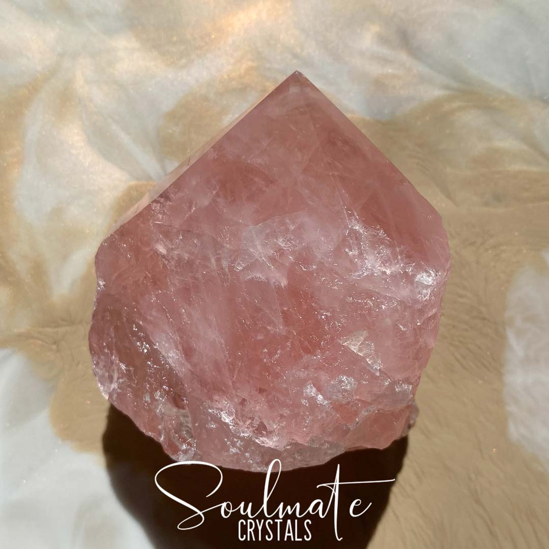 Soulmate Crystals Raw Polished Crystal Point, Pink Crystal for Forgiveness, Self-Love