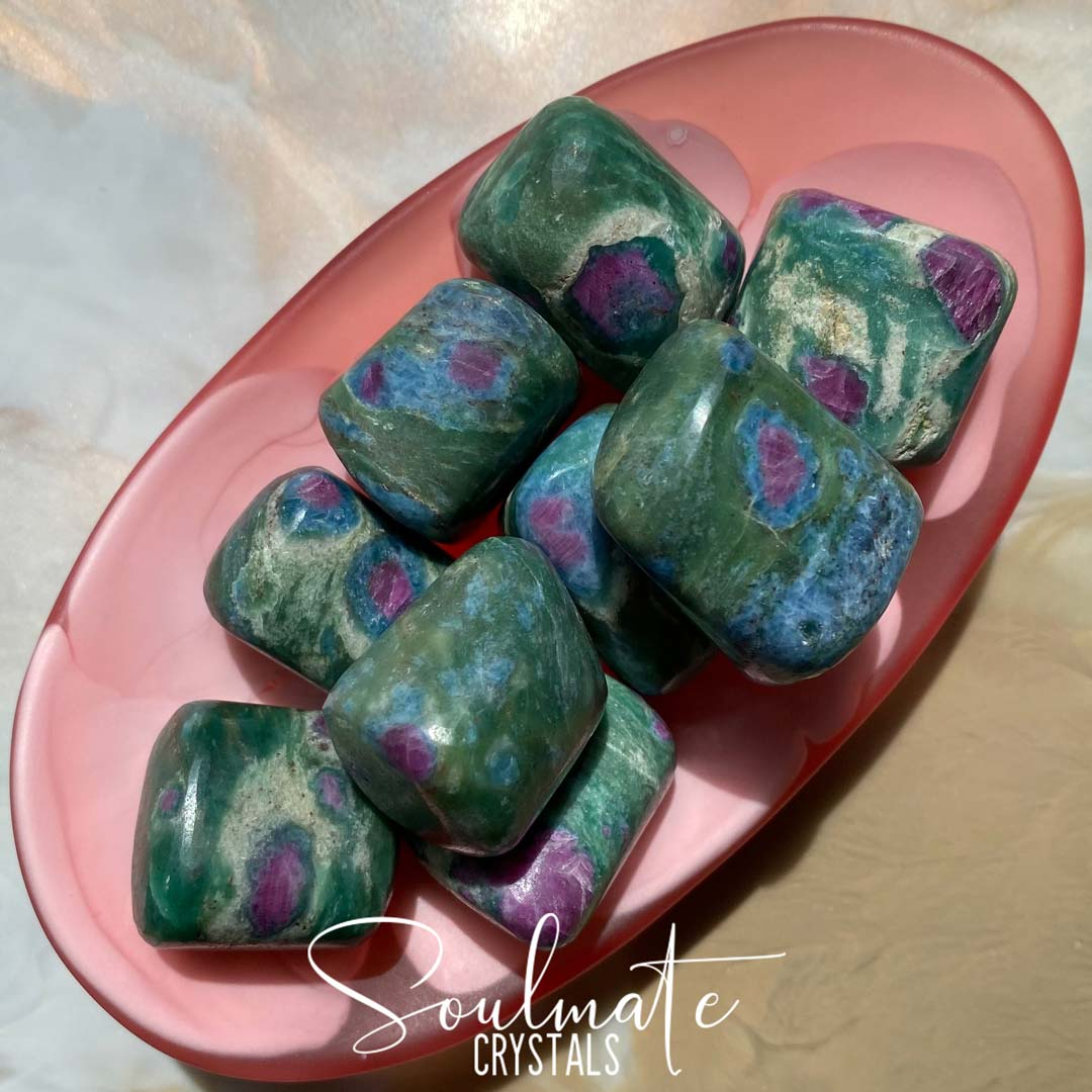 Soulmate Crystals Ruby Fuchsite Dark Tumbled Stone, Pink-Red Ruby Inclusions in Green Crystal for Emotional Harmony