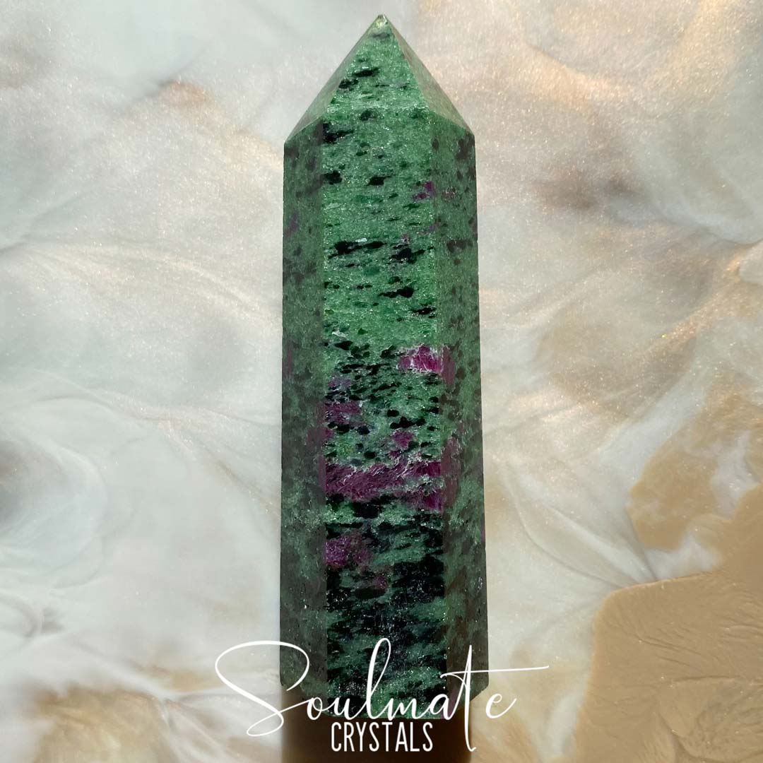 Soulmate Crystals Ruby Zoisite Polished Stone Point, Ruby Studded Green Crystal for Emotional Harmony