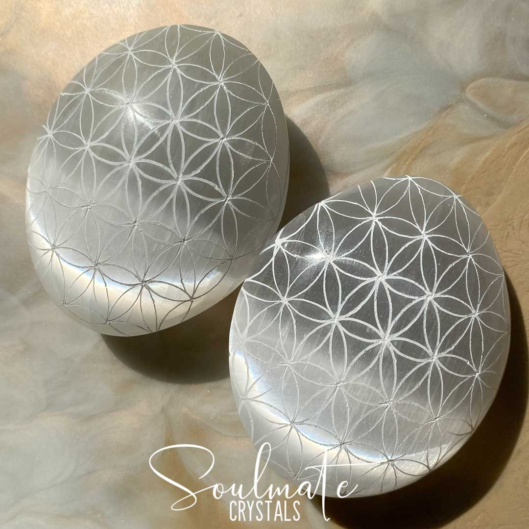 Soulmate Crystals White Selenite Polished Seed of Life Palm Stone, White Gypsum Crystal Oval Etched Stone for Energetic Cleansing