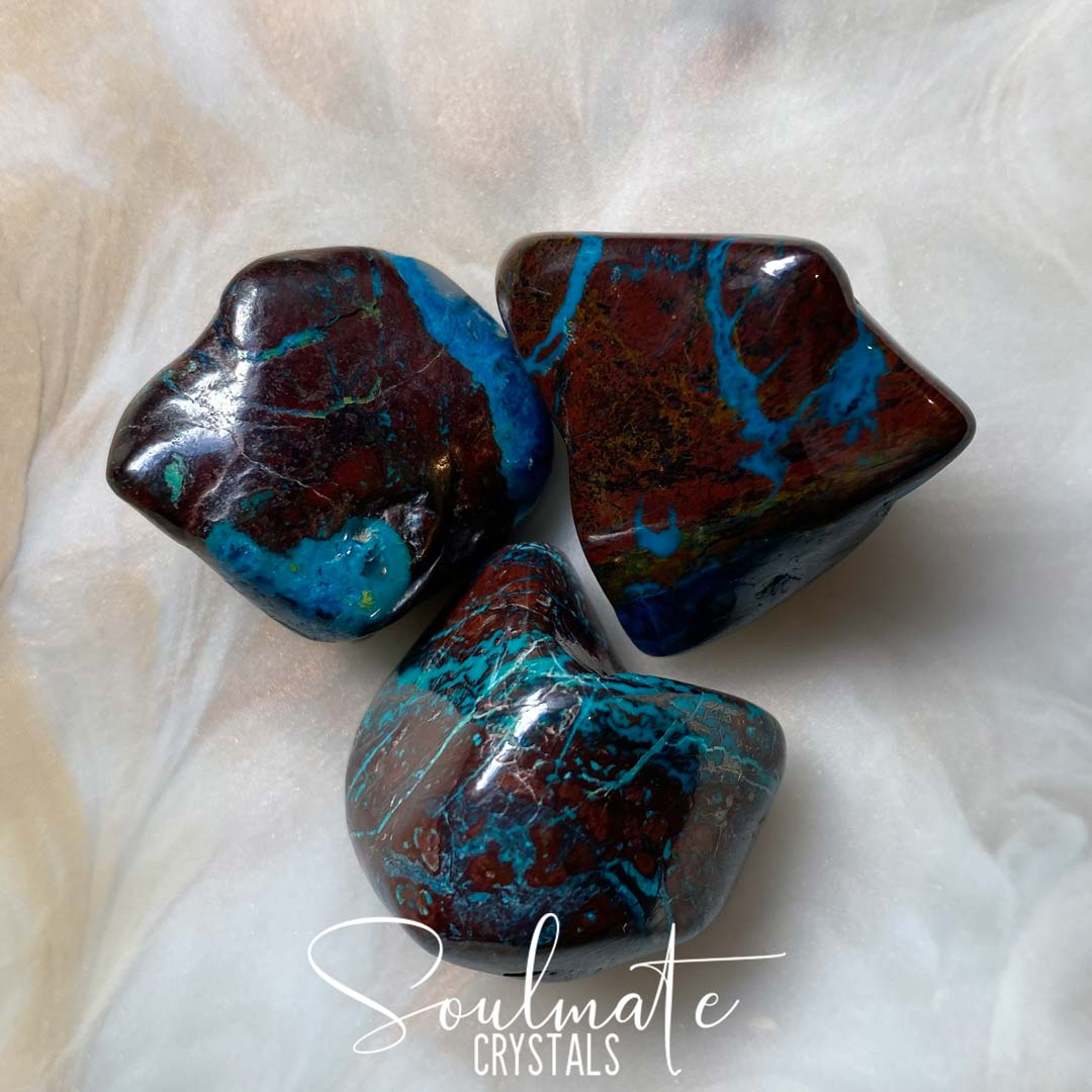 Soulmate Crystals Shattuckite Cuprite Tumbled Stone, Reddish Coppery and Blue Crystal for Liberation and Fortitude