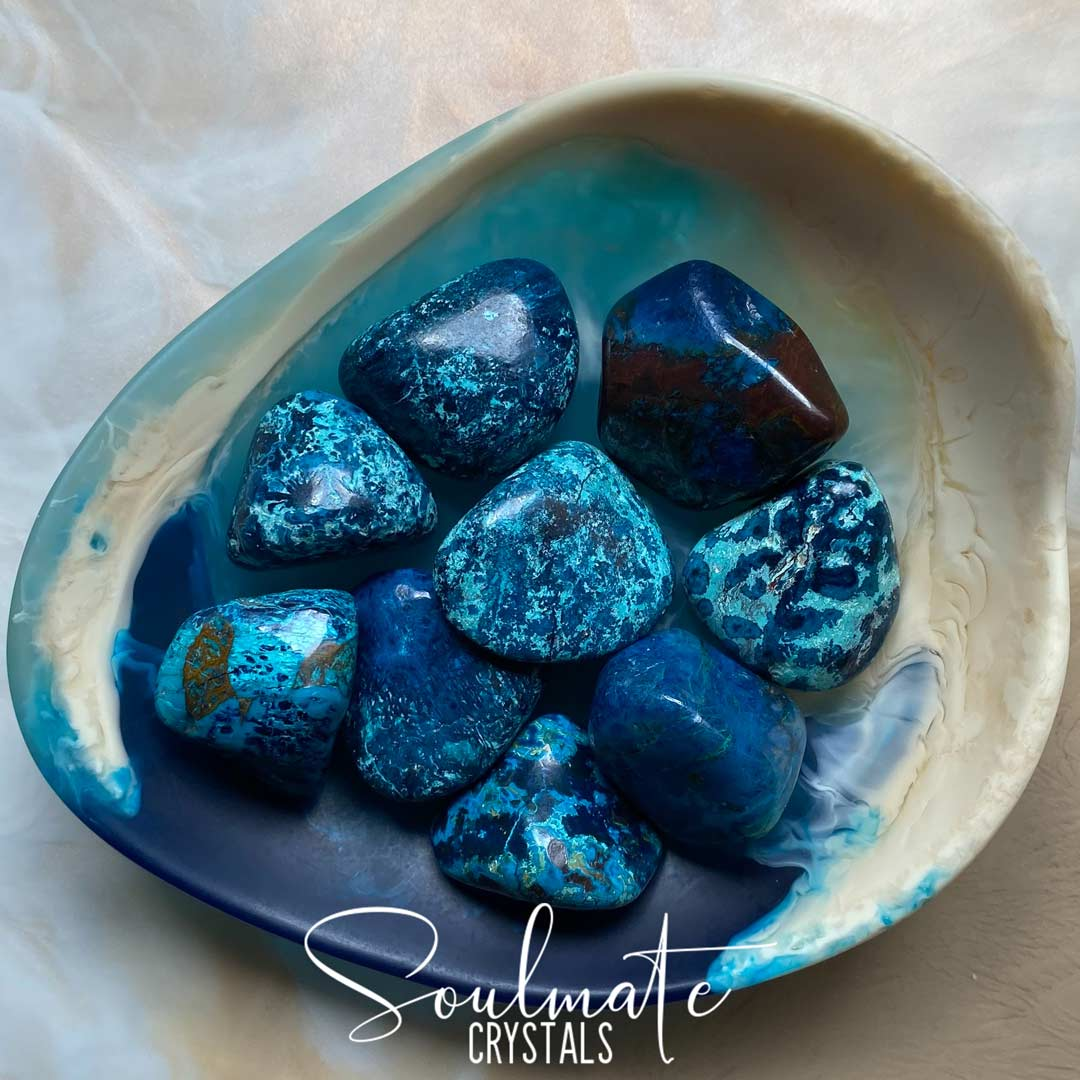 Soulmate Crystals Shattuckite Tumbled Stone, Blue Crystal for Liberation and Wisdom