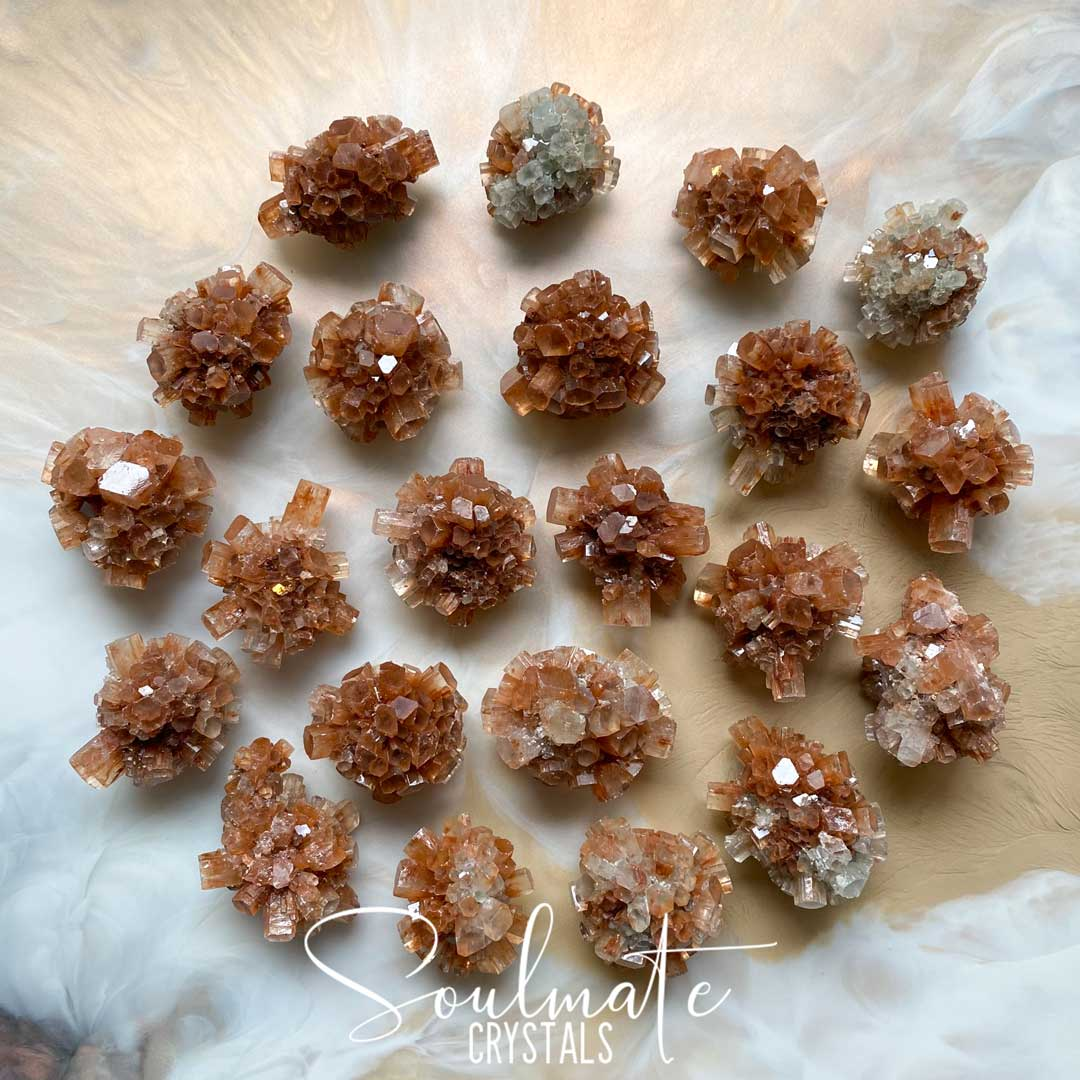 Soulmate Crystals Star Aragonite Raw Natural Stone Cluster, Red and Clear Star-Shaped Crystal for Earth Conservation, Loving Energy and Positivity