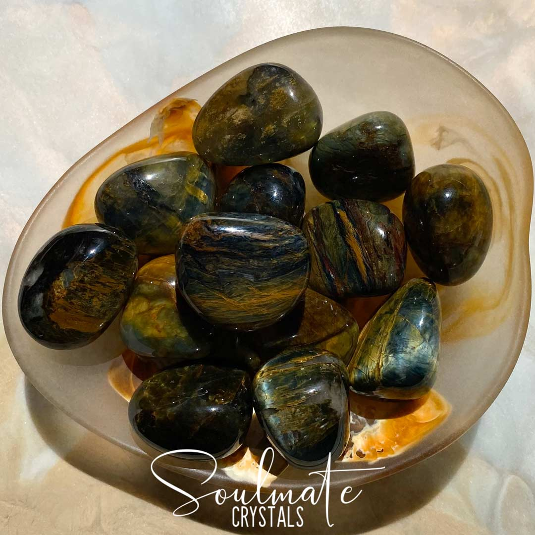 Soulmate Crystals Tigrina Nellite Tumbled Stone, Gold Blue Crystal for Insight, Visioning, Acceptance