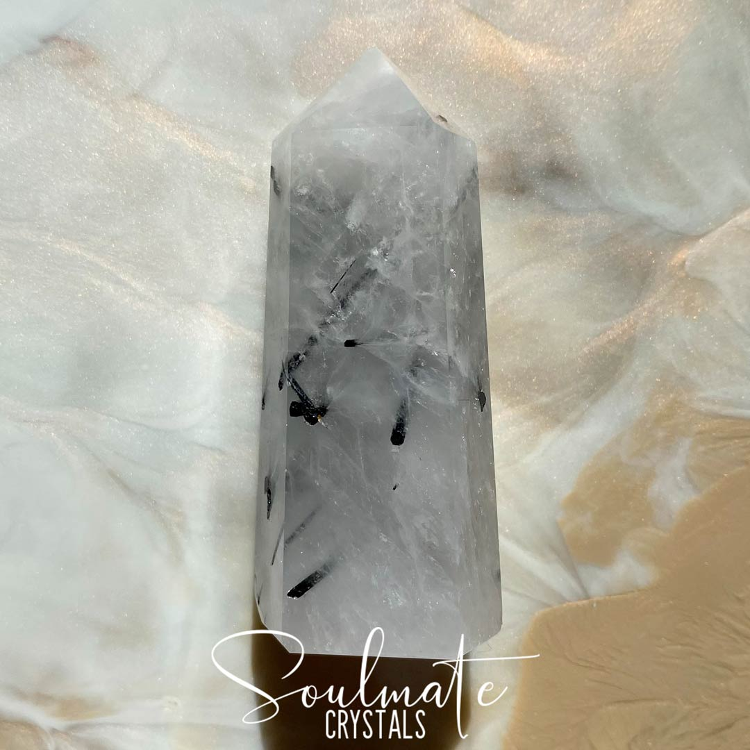 Soulmate Crystals Tourmalinated Quartz Polished Crystal Point, Black Tourmaline in opaque or Clear Quartz Crystal for Balance