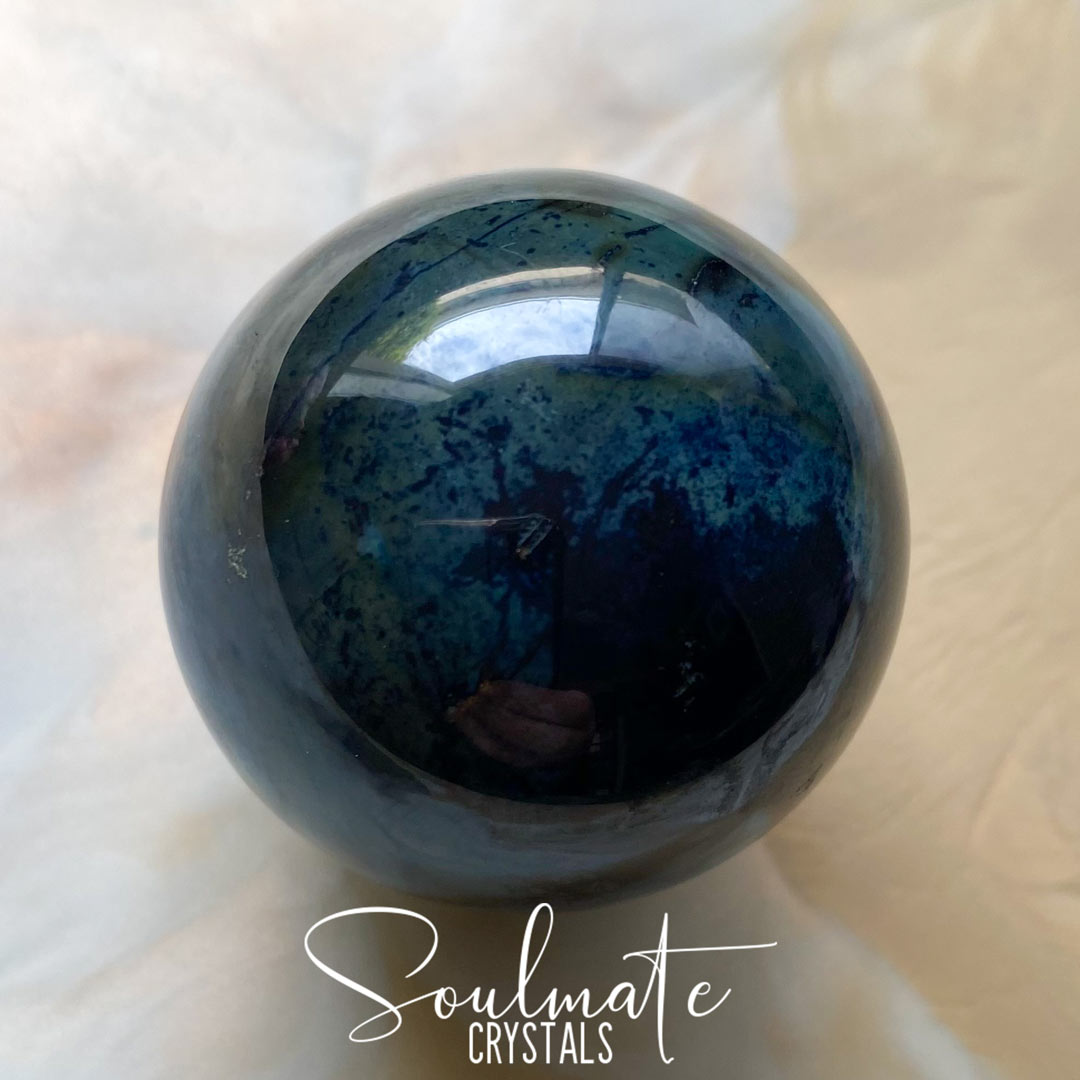 Soulmate Crystals Vivianite Polished Stone Sphere, Blue Green Crystal for Restoration, Calm and Stress Relief