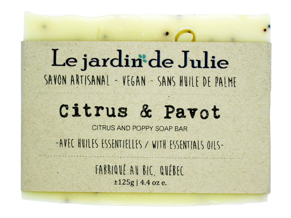 savon vegan écologique zéro déchet biodégradable naturels Québec savonnerie Bic produit naturel Le jardin de Julie savon Citrus et Pavot Citrus and poppy swap bar natural soap