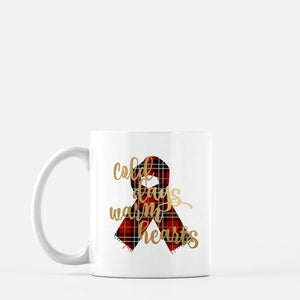 Cold days Warm Hearts Mug, Gold foil style with Red Plaid Scarf, winter mug, holiday gift - madihacreates