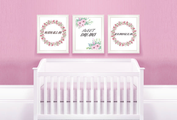 Floral girls nursery print,islamic wall art,nursery wall art,girls room print - madihacreates