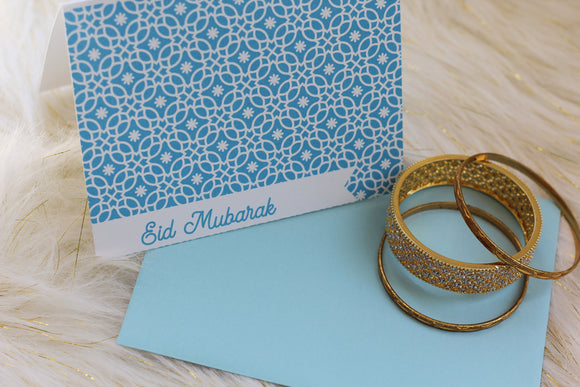 Instant download Blue Moroccan print Eid Mubarak Card - madihacreates
