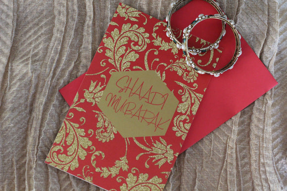 Royal Red and Gold Shaadi Mubarak Card (Wedding Greeting Card) - madihacreates
