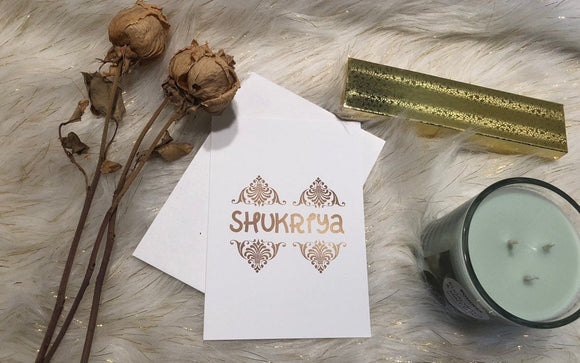 Shukria Card Gold , Thank you card, Urdu Thankyou card - madihacreates