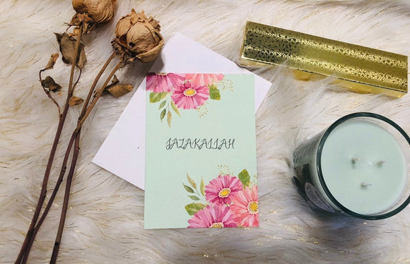 JazakAllah Greeting Card, Islamic thankyou card,thankyou card,thanks floral card - madihacreates