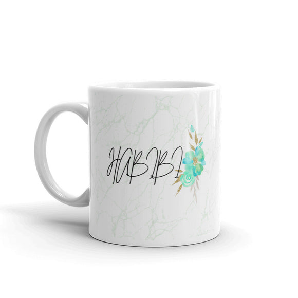 Habibi Mug with Marble background with floral art, Habibi Mug - madihacreates
