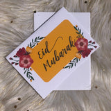 Eid Mubarak bright with floral illustration greeting card - madihacreates