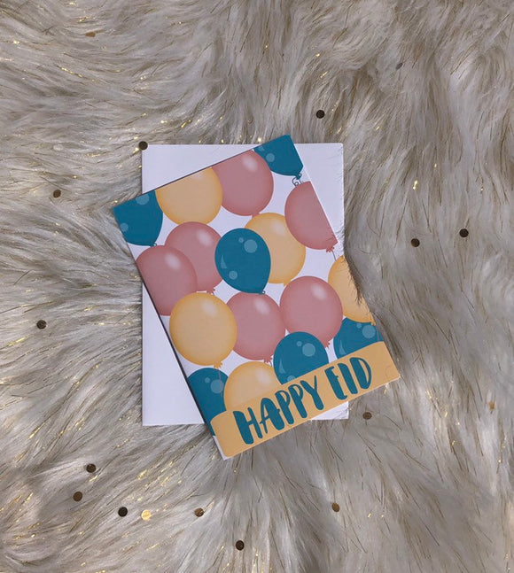 Happy Eid Card,Balloon Eid Card, fun pastel colors happy Eid greeting card, - madihacreates