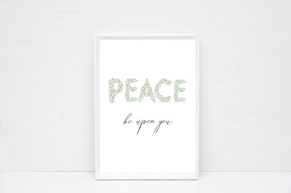 Peace be upon you print, floral boho letter print, - madihacreates