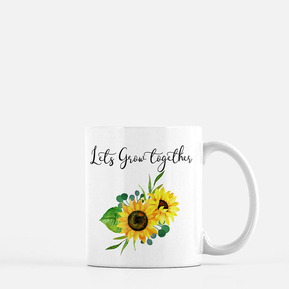 Let's grow together mug, succulent , sunflower , variety plant design