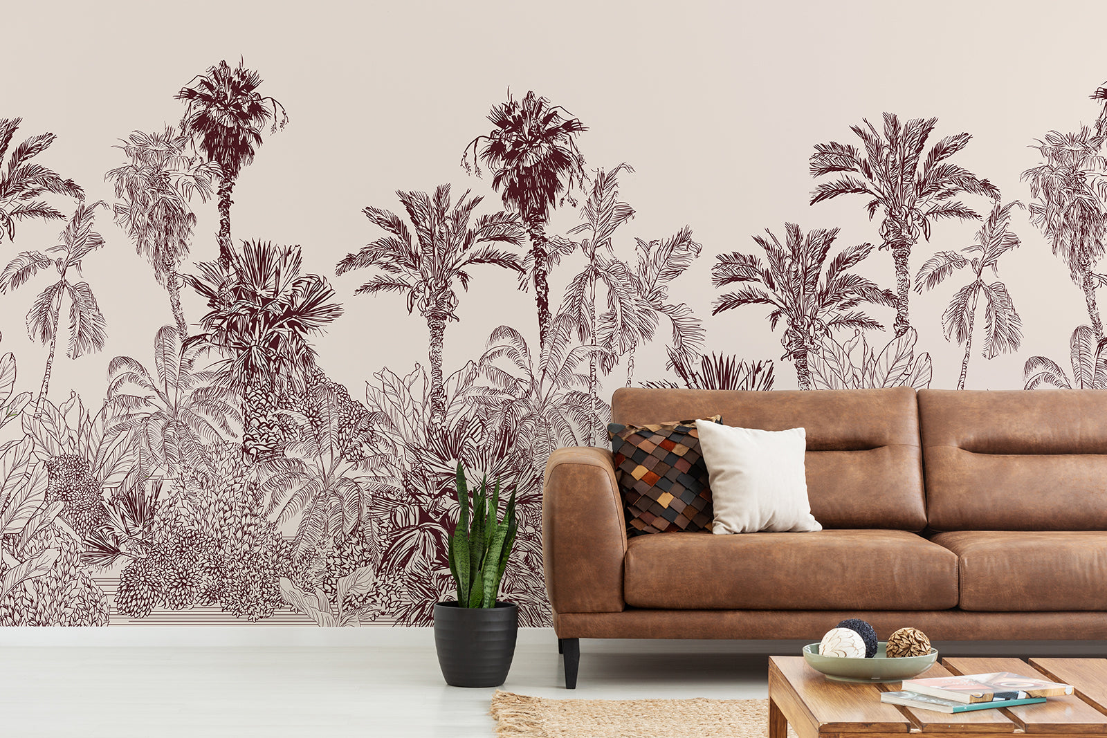 Treescape wallpaper peel and stick tropical