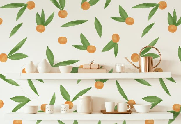 Easy peel and stick apricot fruit wall decals