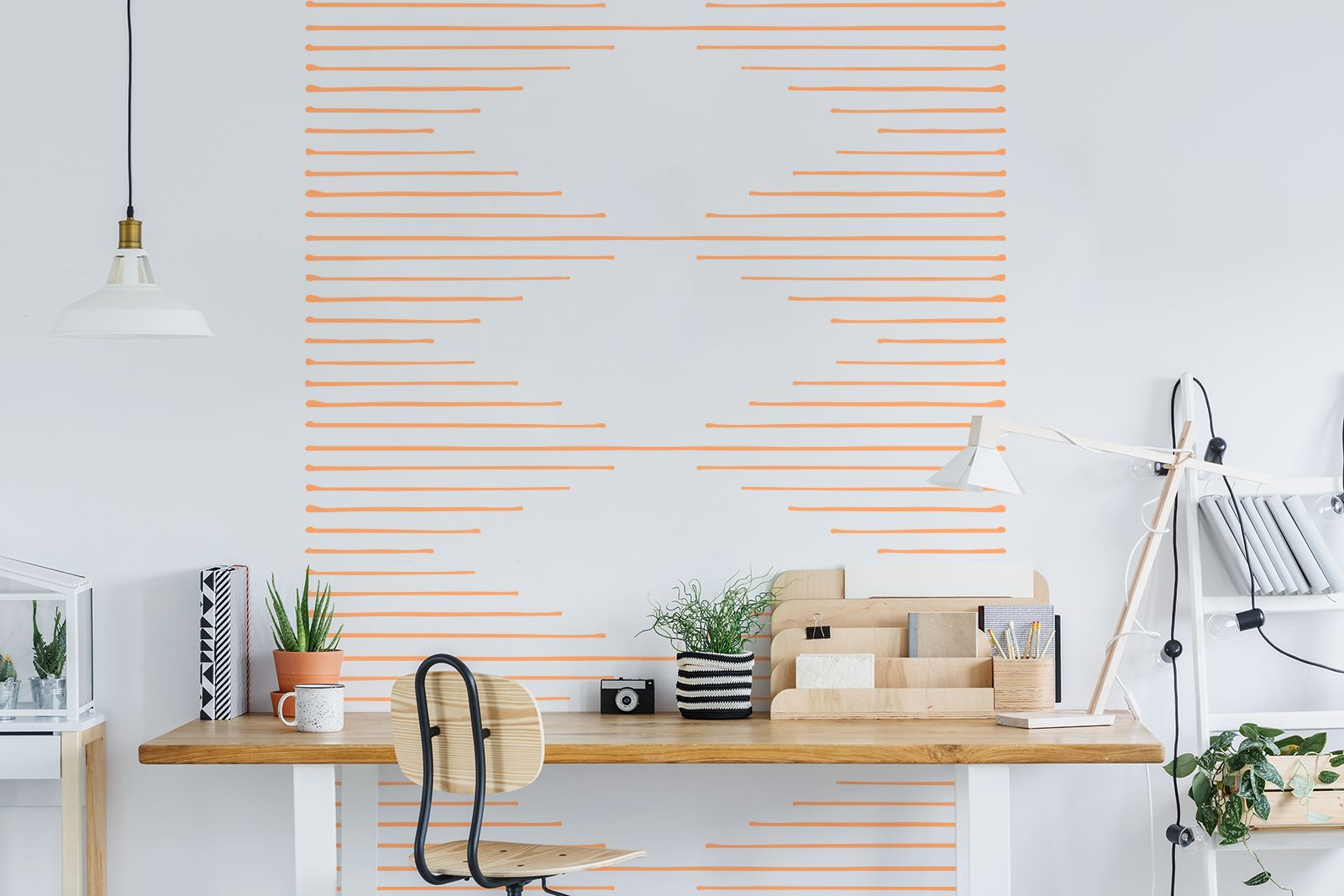 Dashing peel and stick wall decals orange lines