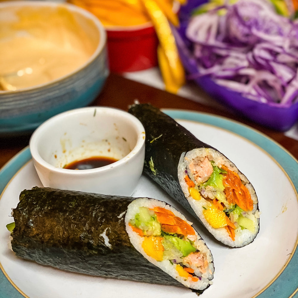 Sweet Potato, Daikon and Dill Sushi Burritos
