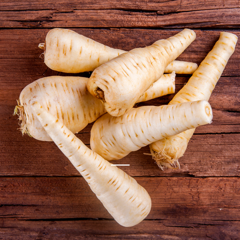 several parsnips on a table