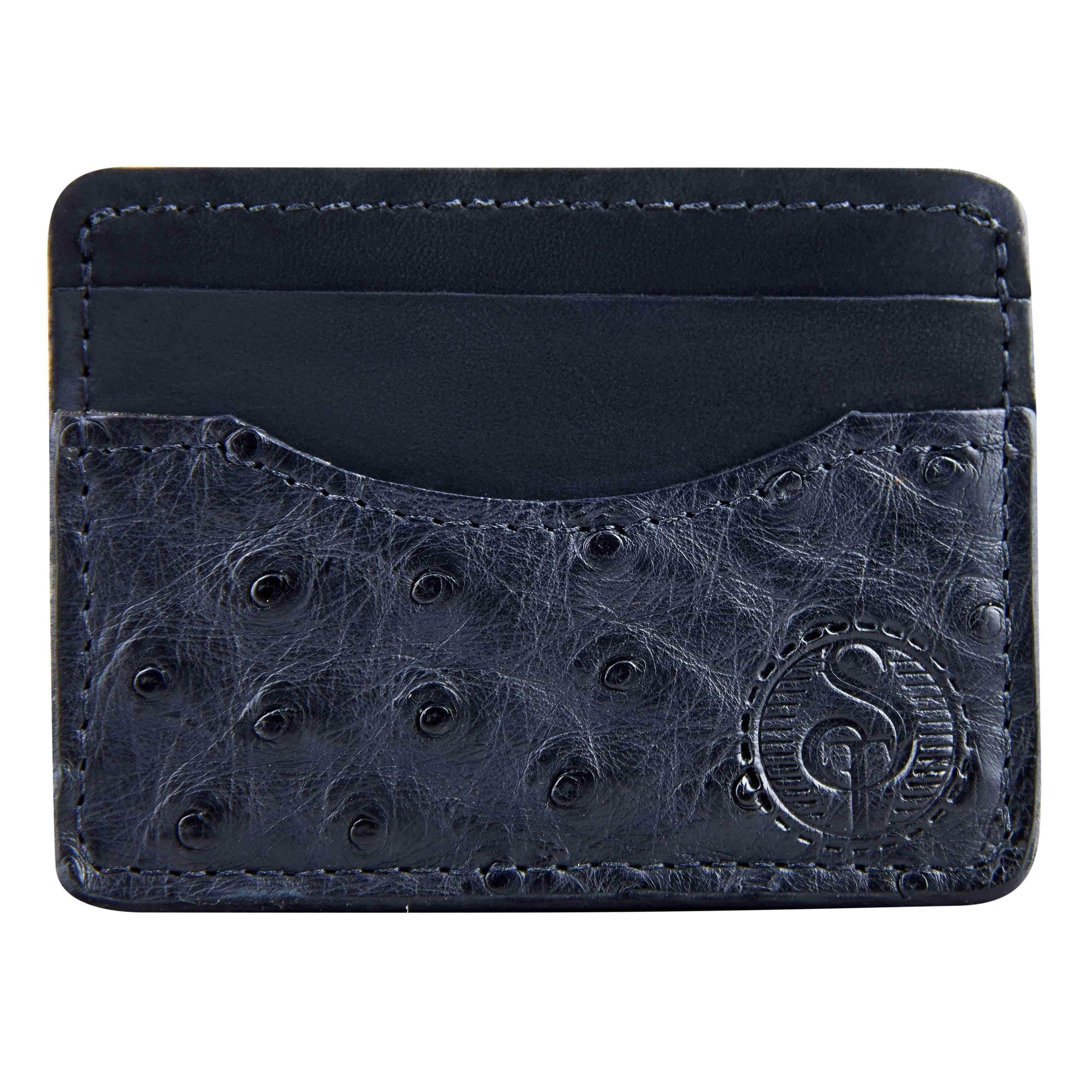 Black ostrich front pocket wallet for men