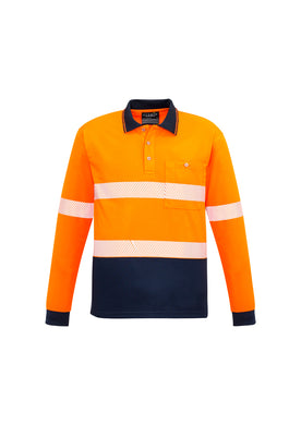 Syzmik Segmented Hi-Vis L/S Orange/Navy Polo - ZH530