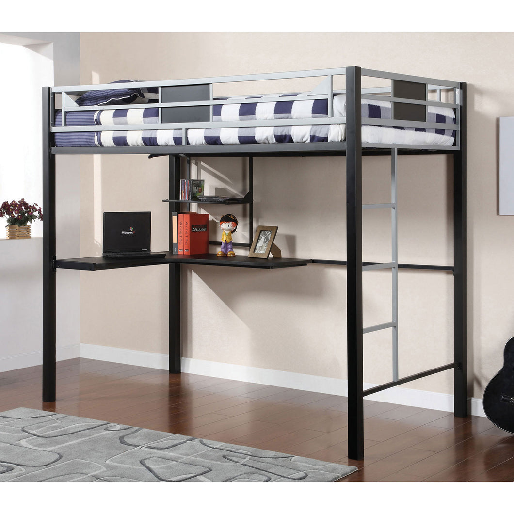 Clifton Silver/Gun Metal Full Size Loft Bed w/ Workstation