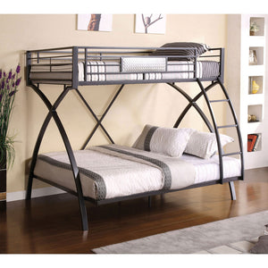 Apollo Gun Metal/Chrome Twin/Full Bunk Bed