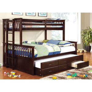 UNIVERSITY Dark Walnut Twin/Queen Bunk Bed + Trundle
