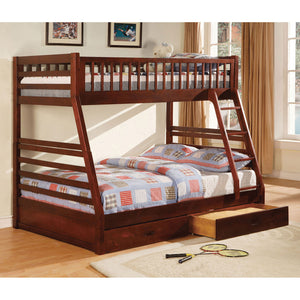California II Cherry Twin/Full Bunk Bed w/ 2 Drawers