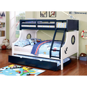 NAUTIA Blue/White Twin/Full Bunk Bed